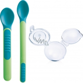 Mam Feeding Spoons & Cover 2 phase feeding spoon with protective cover of different colors 6+ months 1 set