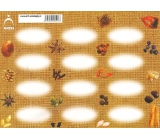 Arch Samolepky na kořenky Juta barvotisk bez popisu - aršík k dodatečnému popisu (např. pro čaje, speciální koření, ingredience)