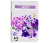 Bispol Aura Violet s vůní fialky vonné čajové svíčky 6 kusů