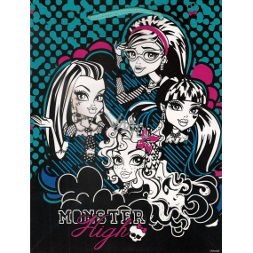 Ditipo Disney Dárková papírová taška dětská M Monster Hight černo-modro-bílá 18 x 10 x 22,7 cm