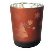 Glass candle holder brown 7 cm Christmas tree