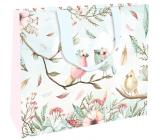 Nekupto Gift paper bag with embossing large 30 x 23 x 12 cm Birds 1863 LFL