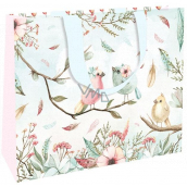 Nekupto Gift paper bag with embossing large 30 x 23 x 12 cm Birds 1863 LFL