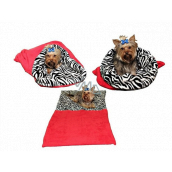 Marysa litter - 3in1 bag is designed for puppy, kitten, rodent or ferret XL 60 x 150 cm red / zebra
