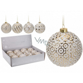 Tree ball glass white with gold mix 80 mm 1 piece