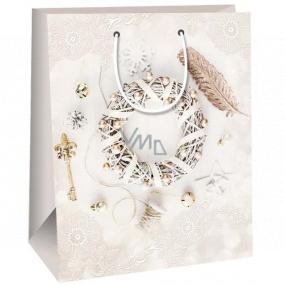 Ditipo Gift paper 26.4 x 13.6 x 32.7 cm bag beige wreath DAB