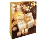 Nekupto Gift paper bag 32.5 x 26 x 13 cm Christmas gold gift WBL 1947 01