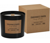 Cedarwood & Vanilla scented glass candle with wooden wick 300 g