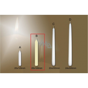 Lima Gastro smooth table candle ivory 20 x 190 mm 4 pieces