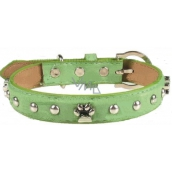 Tatrapet Collar Leather green decorated with paws 2.5 x 55 cm