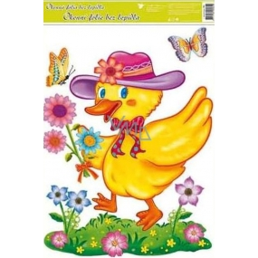 Room Decor Window foil without glue Easter duck in a hat 42 x 30 cm 1 piece