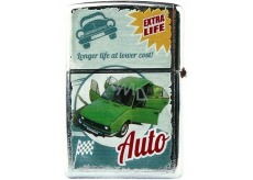 Bohemia Gifts Retro metal gasoline lighter with print Green car 5.5 x 3.5 x 1.2 cm