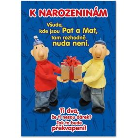 Ditipo Playing card for birthday original melody from bedtime story Pat and Mat 224 x 157 mm