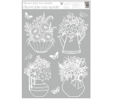 Room Decor Window foil without glue White flower in a bowl 42 x 30 cm