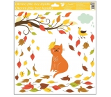 Room Decor Window foil without glue autumn animals 33 x 30 cm autumn animals Cat