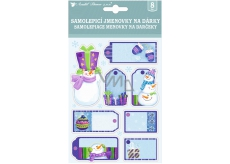 3D gift tags with blue-violet glitter 17 x 12.5 cm 8 pieces