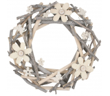 Wreath of twigs with flowers and bow ties 30 cm