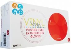 Asap Rukavice vinyl jednorázové nepudrované vyšetřovací rukavice velikost S box 100 kusů