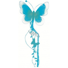 Butterfly with nylon wings and feathers blue 73 x 17 cm