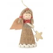 Anděl s hvězdou jutový 8 cm č.1