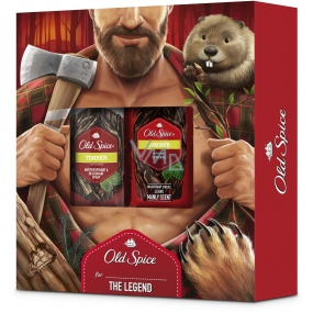 Old Spice Timber with Mint 250 ml shower gel + 150 ml deodorant spray, cosmetic set for men