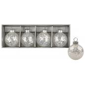 Set of glittering glass flasks 4 cm, 4 pieces