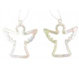 Plastic hanging angel 6 cm 2 pieces