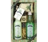 Bohemia Gifts Cannabis Hemp oil shower gel 200 ml + hair shampoo 200 ml + bath salt 150 g + toilet soap 30 g, cosmetic set