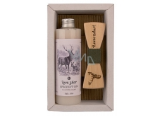 Bohemia Gifts & Cosmetics Hunter Olive oil shower gel 250 ml + wooden bow tie, men's cosmetic set