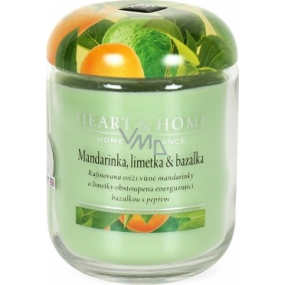 Heart & Home Tangerine, lime and basil Soy scented candle medium burns up to 30 hours 110 g