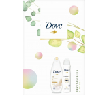 Dove Nnourishing Revitalizing Silk Shower Gel for Women 250 ml + Invisible Dry Clean Touch antiperspirant spray 150 ml, cosmetic set