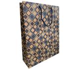 Nekupto Gift kraft bag 37 x 28 x 10 cm Blue squares 632 KHL