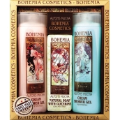 Bohemia Gifts & Cosmetics Alfons Mucha Rose hips and roses cream shower gel 200 ml + honey and grain cream shower gel 200 ml + aquaminerals toilet soap 120 g, cosmetic set