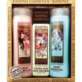 Bohemia Gifts Alfons Mucha Darts and roses creamy shower gel 200 ml + aquaminerals creamy shower gel 200 ml + toilet soap with glycerin and extracts from olive and citrus leaves 120 g, cosmetic set