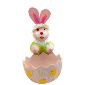 Bunny with a pink basket 12 x 6 cm