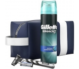 Gillette Mach 3 razor + 2 spare heads + Comfort shaving gel 200 ml + etue cosmetic set for men