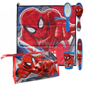 Marvel Spiderman Hygienic set plastic cup, hair comb, toothbrush holder, towel (40 x 40 cm) and bag