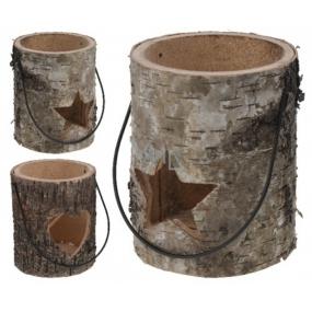 Round wood lantern 130 mm