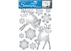 Room Decor Stickers deer and shiny silver flakes 35 x 27,5 cm