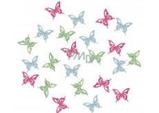 Butterflies wooden green, blue, pink 2 cm 24 pieces