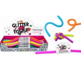 Power Cord elastic plastic, which is expandable up to 2 meters! glitter - orange