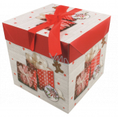 Folding gift box with Christmas ribbon with gifts and gingerbread 10.5 x 10.5 x 10.5 cm
