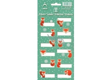 Arch Christmas labels stickers Foxes green arch 12 labels