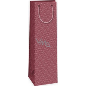Ditipo Dárková papírová taška na láhev bordó geometrický vzor 12,3 x 7,8 x 36,2 cm STD