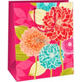 Ditipo Gift paper bag 26.4 x 13.7 x 32.4 cm pink large flowers AB