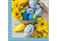 Velikonoční papírové ubrousky košík, modré kraslice, narcicy 33 x 33 cm 3 vrstvé 20 kusů