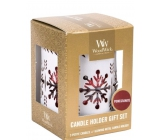 WoodWick Pomegranate - Pomegranate Scented Candle with Wooden Wick Petite 3 x 31 g + White Snowflake Candlestick Gift Set