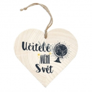 Bohemia Wooden heart with 12cm print - teachers change the world