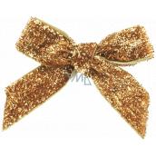 Velvet gold glittering bow 8 cm 12 pieces