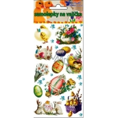 Room Decor Easter gel stickers with purple basket 19 x 9 cm